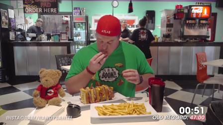 兰迪大胃王的6块培根芝士汉堡限时挑战赛