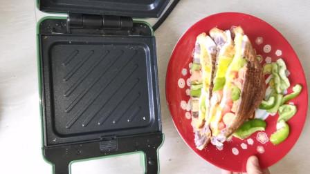 """自制独居女孩的早餐,""""巨无霸""""三明治,值得你拥有!"""