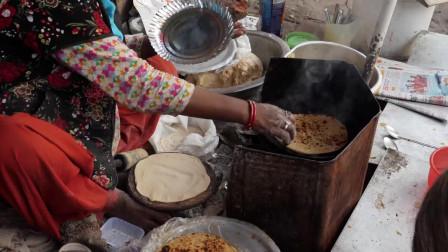 印度老奶奶的咖喱面包-烤饼 印度街头美食