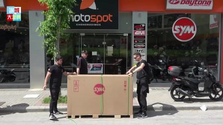2020款三阳迷你踏板车到店实拍,打开箱子那刻才是惊艳的开始!