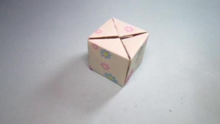 手工折纸立方体收纳盒,简单易学还实用