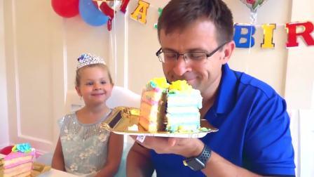 国外少儿时尚,小萝莉小正太给爸爸制作生日蛋糕,大家都好开心啊