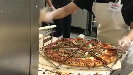 披萨是这样切的呀!难怪切得那么均匀!!!