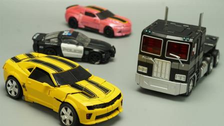 汽车人大黄蜂和霸天虎路障开战-变形金刚定格动画