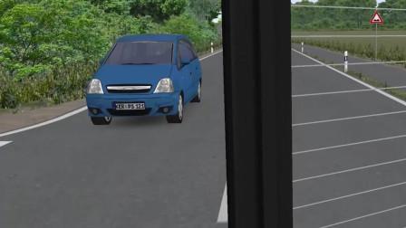 巴士模拟2 在一帮不打转向右转的小车中混入了一个直行车