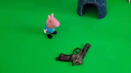 乔治用乐高拼的玩具,打算拿去给朋友们看一下,没想到还把小鬼吓走了