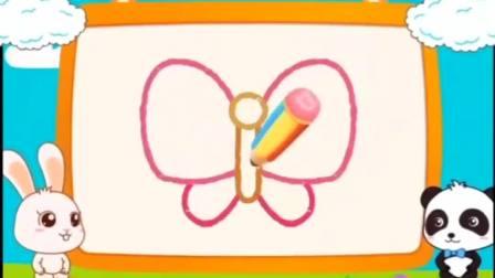 早教启蒙儿童简笔画,一起画蝴蝶,一边玩耍一边学画画!
