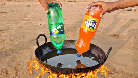 在高温油锅中加冷饮会爆炸么?老外作死实验,结果玩大了