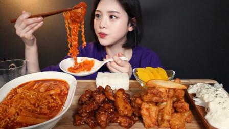 """韩国ASMR吃播:""""辣炒年糕+火鸡面+纯肉炸鸡+洋葱沙拉酱"""",听这咀嚼音,吃货欧尼吃得真馋人"""