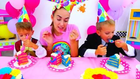 美国儿童时尚,妈妈与弗拉德准备生日蛋糕和惊喜礼物。太棒了