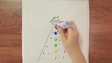 抽象画教学示范,神秘的第三类接触,一起来见识下!