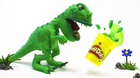 用橡皮泥做了只恐龙,活了之后,制止不住了!