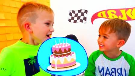 美国儿童时尚,妈妈与弗拉德准备生日蛋糕和惊喜礼物。快来看看吧