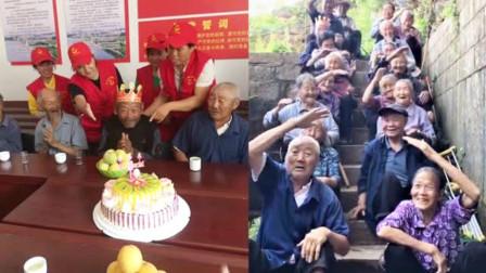 感动!72岁农村老人第一次吃生日蛋糕 吹蜡烛的样子令人泪目