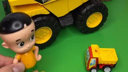 附近有怪兽来了,工程车帮助了小朋友,猪爸爸他们都上车了