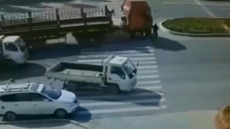 大爷横穿马路,来不及躲避大车,监控拍下揪心的一幕