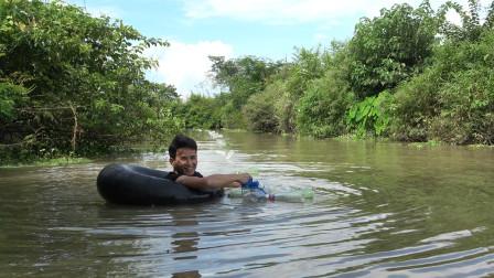 长江钓放在河里三天,小莫刚拉起来就中大货,收获太棒了