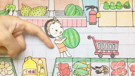 哪吒好热,想吃西瓜,小女孩连忙去超市买