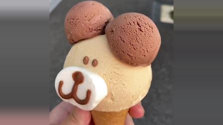 日本街头美食,拼接原宿动物冰淇淋,萌化啦!哪里舍得吃啊!