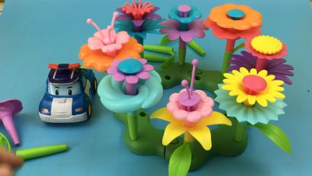 变形警车珀利玩艺术插花玩具