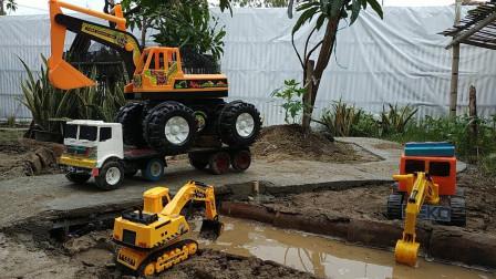 炫彩自卸卡车模型玩具出发运输沙土