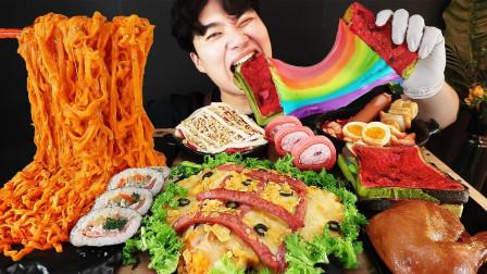 小伙在家做美味佳肴,彩虹芝士面包颜值真高,吃着满满的幸福感!