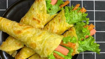 手抓饼的家常做法,卷上自己爱吃的配菜营养美味,学会早餐自己做