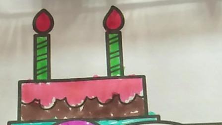 儿童图画,小猪过生日,帮小猪涂蛋糕