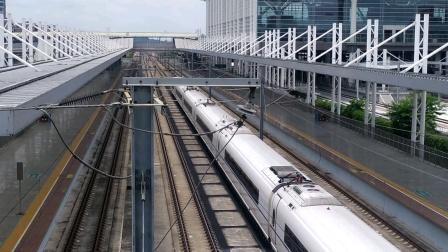 2020年7月6日,G6016次(深圳北站—长沙南站)本务中国铁路广州局集团有限公司广州动车段长沙动车运用所CRH3C-3080+3073广州北站通过