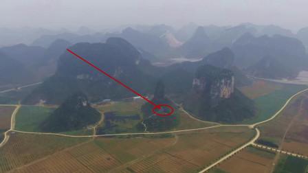 航拍发现一个奇特一座山,山上有一宝穴看上去感觉不简单