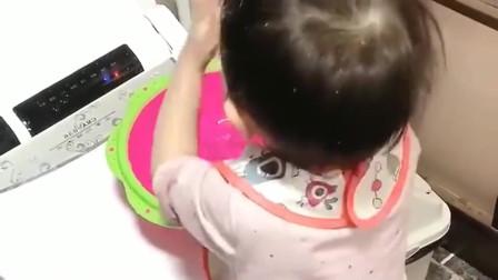 第一次自己洗脸的萌娃,这手法我看着都疼