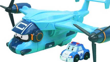 变形警车卡利运输飞机玩具