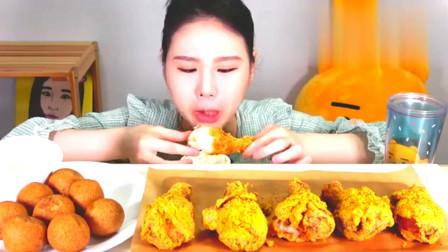 韩国吃播:BHC奶酪球芝士炸鸡腿,蘸着新鲜奶油,这吃法满满的卡路里!