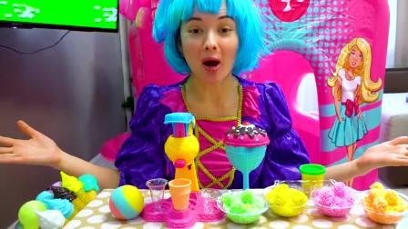国外儿童时尚,妈妈陪小女孩玩冰淇淋玩具,充满了童年的欢乐!片段A