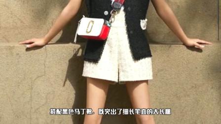 """她演《流星花园》走红,今穿呢子套装短裤,秀""""酒杯腿""""太迷人"""