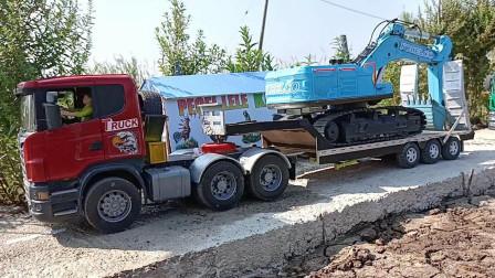 大卡车模型玩具运输装载机和挖掘机
