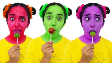 太奇妙,萌娃小萝莉的脸怎么变成五颜六色?她吃了魔法棒棒糖吗?儿童启蒙早教益智亲子游戏玩具故事