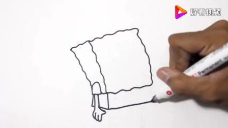 简易画教你画戴圣诞帽的海绵宝宝(1)