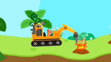 霸王龙开着挖掘机遇到了火山喷发怎么办?