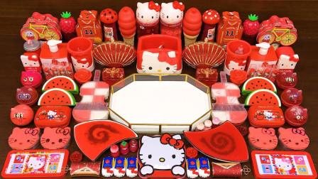 70种材料混合红色KT猫做无硼砂泥,太好玩了,效果美哒哒!