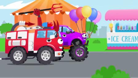 汽车玩具视频:消防车在游乐场做恶作剧