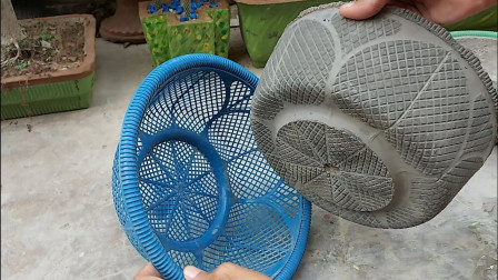 """家里的菜篮子纹路好看,不错的""""模具"""",在家自制水泥花盆,学下"""