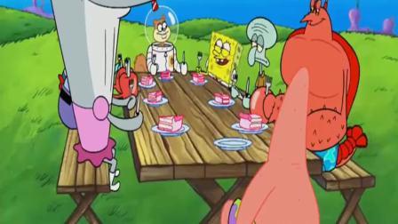 海绵宝宝动漫:珊迪展示切蛋糕神功,赶紧把生日蛋糕切开,帅呆了