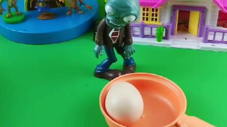 僵尸肚子饿没吃的,拿着空锅站在院子里,天上有蛋和玉米掉进锅里!