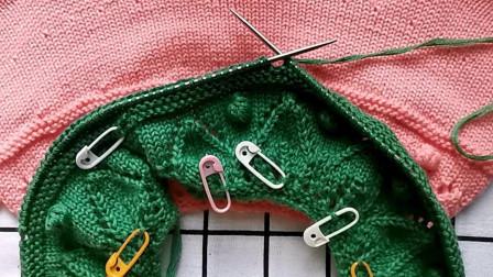 从上往下编织树叶花童装毛衣,后面落肩编织教程二,简单易学图解视频