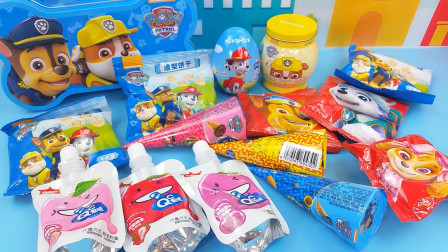 试吃汪汪队儿童零食桶,有好吃的饼干软糖和奇趣蛋