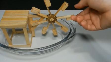 DIY雪糕棍和易拉罐制作简易水轮车,就像永动机的原理似的