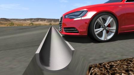 汽车高速通过深坑会怎样?3D动画模拟全程,场面一度失控