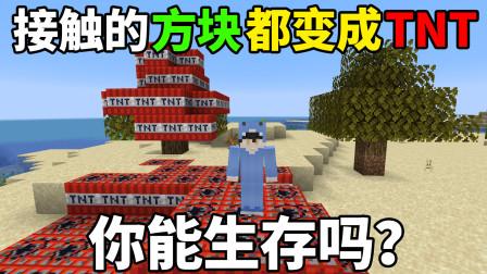 接触的所有方块都变成TNT!你能生存吗?我的世界奇葩生存!