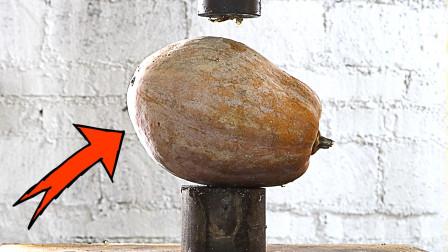 用液压机压南瓜是什么效果?网友:这脑洞太大了